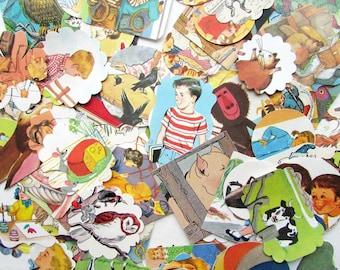 Vintage Paper Scrap Pack, Scrapbook Supply,  100 Paper Punch Shapes,Paper Ephemera, Kids, Pets, Stories, Objects, Original Ephemera