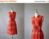 STOREWIDE SALE Vintage 60s Dress / 1960s Wrap Dress / 60s Fringed Knit Fitted Plaid Wrap Dress M medium
