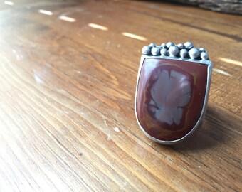Firehorse Jasper Ring Silversmith - Metalsmith Jewelry