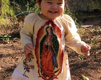 Custom Size Made to Order Virgin of Guadalupe Cream Background Peasant Dress Alexander Henry Fabric Boutique style Virgen de Guadalupe