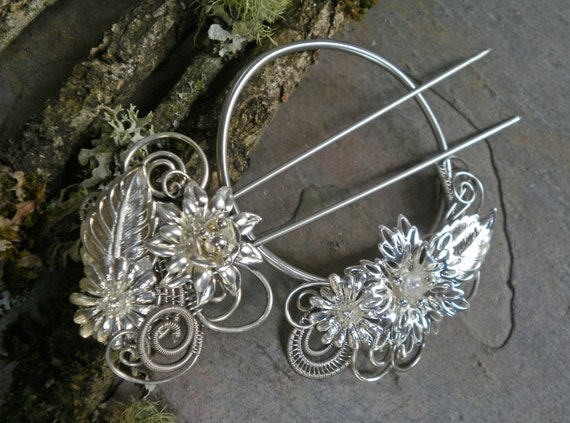 Gothic Steampunk Silver Flowers and Leaves Shawl Cape Pin