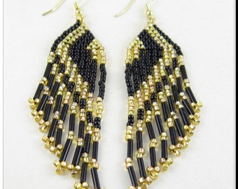 Long Lovely Fringe Beadwork Seed Bead Earrings in Black and Gold Dangle Chandelier
