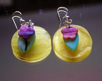 Yellow Capiz Shell Summer Earrings