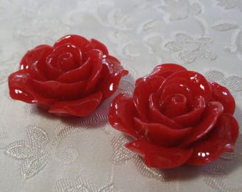 """Drilled Large Cherry Red Rose Flower Beads With Holes 1 1/4"""" 33mm Acrylic Lucite Resin 935"""