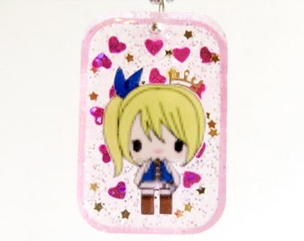 Lucy Heartfilia Celestial Princess Rectangle Resin Pendant Necklace or Keychain