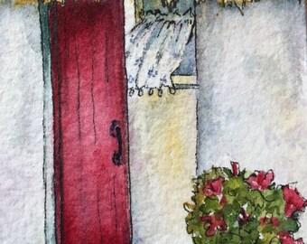 Watercolor of Irish Cottage Original Watercolor Art Artist Trading Card ACEO Art Original Art Card Folk Art