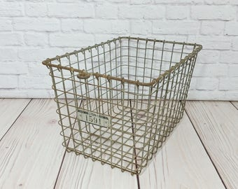 Vintage Industrial Metal Locker Basket