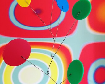 "Large Exuberant Mobile by Atomic Mobiles - 20""x28"" - Delightful Midcentury Inspired Kinetic Art"