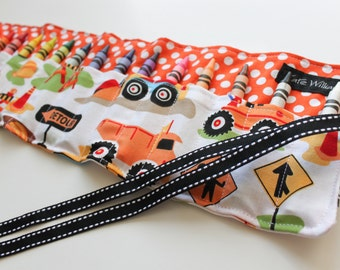 Construction Trucks Crayon Roll Organizer-Boy Christmas Gift-Stocking Stuffer-Boy Birthday Gift-16 Crayola Crayons Included-Ready to Ship