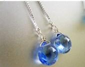 NY Sale 15% OFF, Tanzanite Blue, serenity blue earrings, Quartz Threader Earrings,Threader Earrings, Sterling Box Chain U, Sparkly, They sta