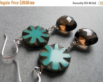 15% OFF sale, Pinwheel Smoky Quartz and Turquoise Czech Glass Earrings