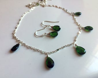 VERY RARE Chrome Diopside SET Necklace and Earrings, One Available
