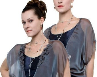 Promo Sale: Promo Sale - Steel-Blue Evening Silk Chiffon Shrug GALA/ 2 Styles 100% silk Sizes XS - 2X