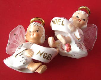 Set of ANGEL Candle Huggers NOEL / Net Wings / 1950s Christmas Decorations Lefton Porcelain Figurines / Candle Climbers