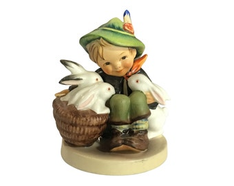 Hummel Figurine | Boy with Rabbits | Vintage Spring | Child and Bunnies | Easter Decor