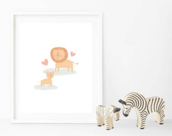 INSTANT DOWNLOAD - Lion and Cub Art Digital Print - perfect for nursery, kids, gifts etc - PRINTABLE - A4 and 8x10 inches