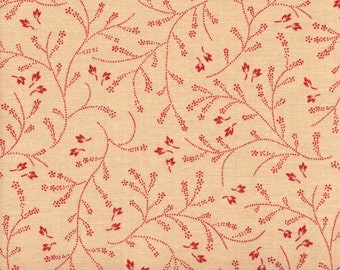 Moda French General 13552 12 Red Vines And Leaves On Tan By The Yard