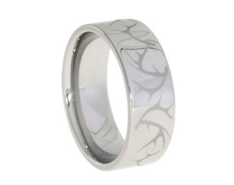 Polished Titanium Ring, Engraved Deer Antler Pattern