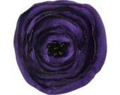Small Purple Poppy Fabric Flower Brooch