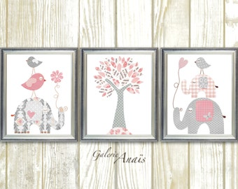 Pink and gray Nursery art Baby Girl nursery Decor Kids wall Art Children's Art Elephant nursery Birds nursery tree Set of three prints