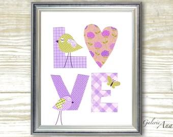 Purple and green nursery - baby nursery art - kids art - kids room decor - kids birds - heart - LOVE print