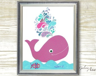 Bathroom art for kids - baby nursery decor - children art - Whale nursery girl ocean sea - The Happy Whale print