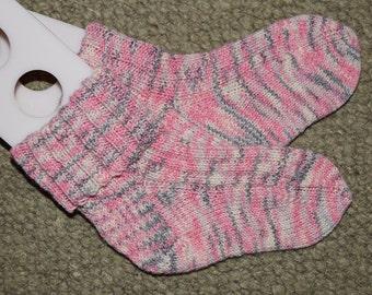 Hand Knit Socks, Child size Large, Pink, Gray, White, Washable Wool