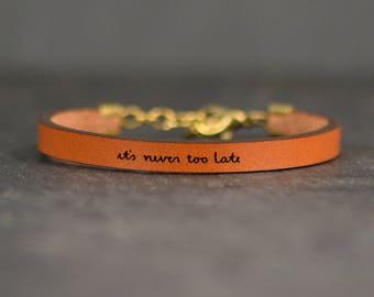 meaningful gift | mental health awareness | adoption gifts | encouragement bracelet | mantra bracelet | it's never too late | sentimental