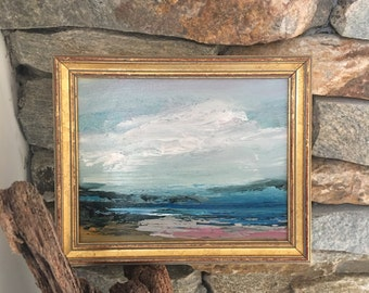 Beach Painting- Framed- Small Painting - Original Painting- 6 x 7 approx. inch - including Frame -  Collectible - Fine Art