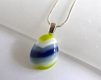 Green White and Blue Small Fused Glass Pendant by BPRDesigns