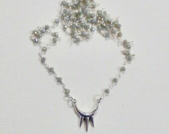 Geometric Triple Spike Labradorite Gemstone Rosary Chain Necklace, Silver Spike Jewelry, Spike Necklace