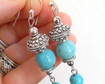 SALE Turquoise drop earrings with silver, gypsy jewelry