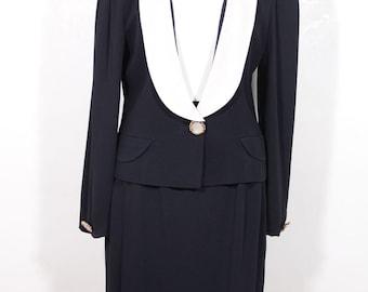 Authentic GENNY Italian VINTAGE Navy Blue SUIT Blazer and Pencil Skirt set sizw 42