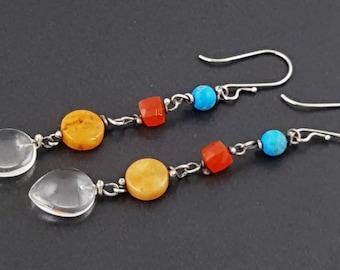 ON SALE---Shoulder Duster Earrings, sterling silver, long dangle earrings, boho earrings, turquoise, carnelian, amber, quartz, bohemian