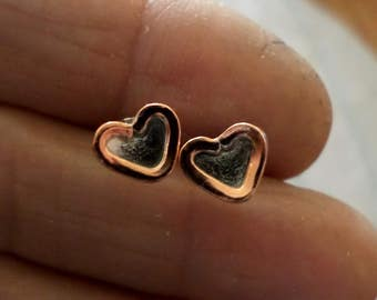 Silver and Copper Heart Studs