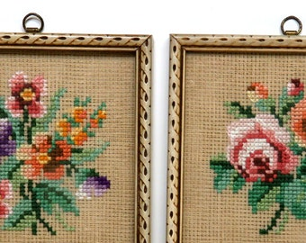 Antique Cross Stitch Floral Pair/ SM Framed Flower Needlepoint/ Roses Cottage Wall Decor