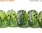 ON SALE 50% OFF Eight May Day Party Rondelle Beads -10506941 Handmade Glass Lampwork Bead Set