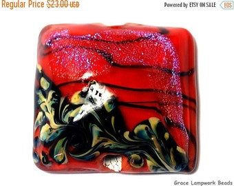 ON SALE 35% OFF Handmade Glass Lampwork Bead - 11836604 Passion Pink Shimmer Pillow Focal Bead