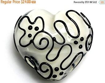 ON SALE 45% OFF Black & White Heart (Large) - Handmade Glass Lampwork Bead 11813125