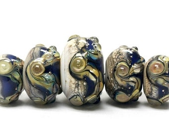 ON SALE 45% OFF Handmade Glass  Lampwork Beads - Five Graduated Transparent Ink Blue w/Free Style Rondelle Beads - 10407011