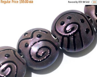 ON SALE 40% OFF Glass Lampwork Bead Set - Seven Light Purple Pearl Surface Lentil Beads 11204502