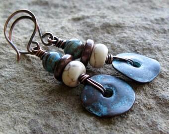 Blue Sky Jasper White Magnesite Copper Earrings-Rustic Copper-Turquoise Blue-Wire Wrapped-Earthy Earrings-Mykonos Greek Discs