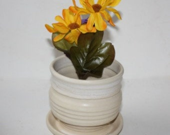 Mat White  Ceramic  Stoneware Planter for  Houseplants , Succulents, Cactus with built in drainage tray
