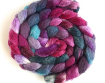 Corriedale Wool Roving - Hand Painted Spinning or Felting Fiber, Composed