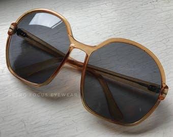 70's Italian Oversized Sunglasses Eyewear Eyeglass Frames Sunset Yellow Eyeglasses Big Huge