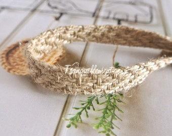 2 Yards Beige Rustic Country Wedding Party Pot Decorations Burlap Braided Linen Hemp Jute Ribbon Trim 0.4 Inches / 1 cm
