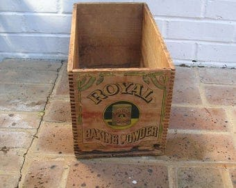 Antique Vintage Wood Wooden Box Antique Vintage Royal Baking Powder Box Crate Royal Baking Powder Crate Box