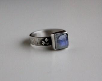 Moonlight ……sterling silver, moonstone, moon and stars ring