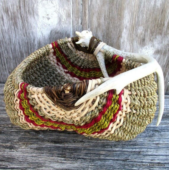 Deer Antler Basket Woven of Natural Materials with Accents of Mustard and Fuchsia