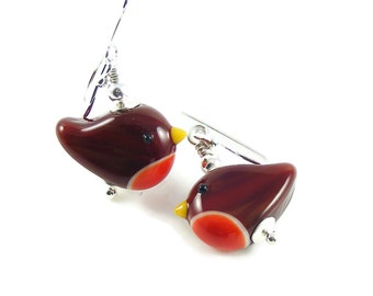Christmas Robins, Sterling Silver Earrings, Handcrafted Lampwork Glass, Fun Stocking Filler, Bird Jewellery